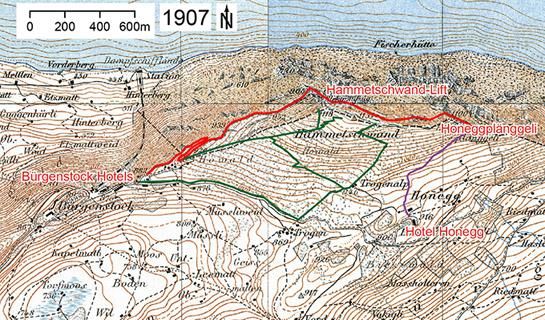 Abb. 4: Wegsituation um 1907 mit dem Felsenweg (rot) und den auf der Südseite der Hammetschwand etwas später angelegten Pfaden (grün und violett)