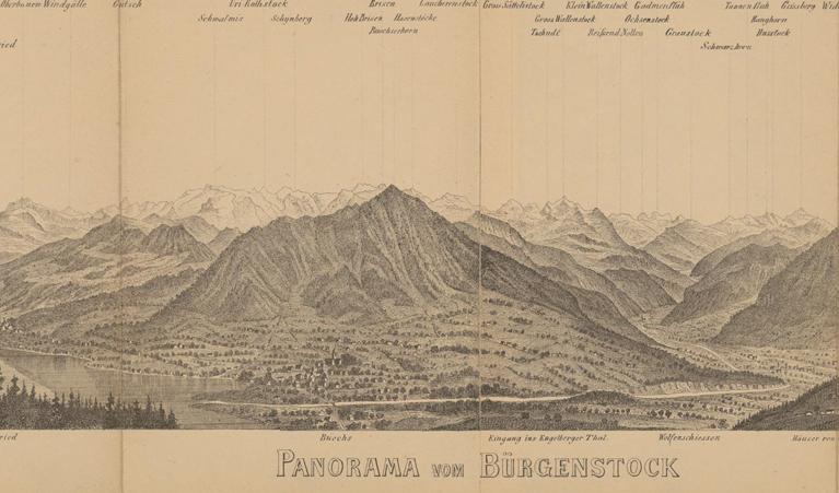 Abb.2: Ausschnitt aus einem portablen Panorama vom Bürgenberg von 1870