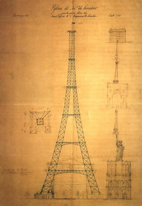 Abb. 6: Entwurf des Eiffelturms um 1884 mit Höhenvergleich bedeutender zeitgenössicher Bauwerke