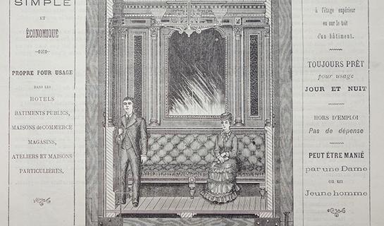 Abb. 8: Innenansicht einer Liftkabine mit Sitzgelegenheit für Damen