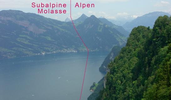 Abb. 10: Blick vom Bürgenberg zum Vitznauer-/Gersauerstock und zur Rigi-Hochflue. Die Molasseschichten der Rigi Scheidegg (links der roten Linie) sind rötlich gefärbt und stehen im Kontrast zu den grauen Kalksteinen der Alpenrandkette (rechts der roten Linie).