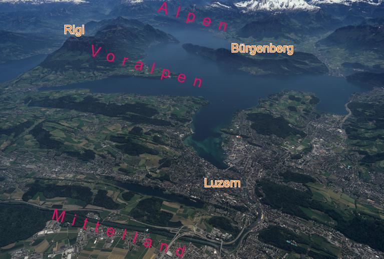 Abb.2: Schrägluftbild Alpen — Voralpen — Mittelland