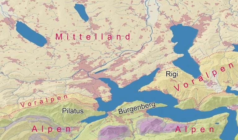 Abb.3: Alpen (violett, grün, braun), Voralpen (dunkelgelb) und Mittelland (hellgelb)