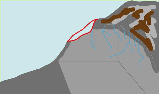 Abb. 12: Frostsprengung – Partikel des Gesteins werden herausgebrochen.