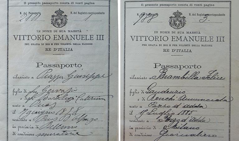 Abb.1: Pässe von Brambilla Felice und Piazza Giuseppe, den beiden am Felsenweg verunfallten Arbeitern