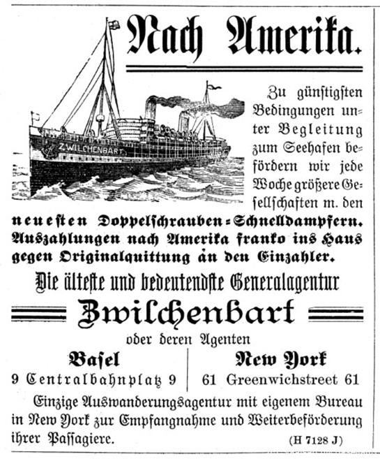 Abb. 7: Inserat der Auswanderungsagentur Zwilchenbart im Nidwaldner Kalender um 1900