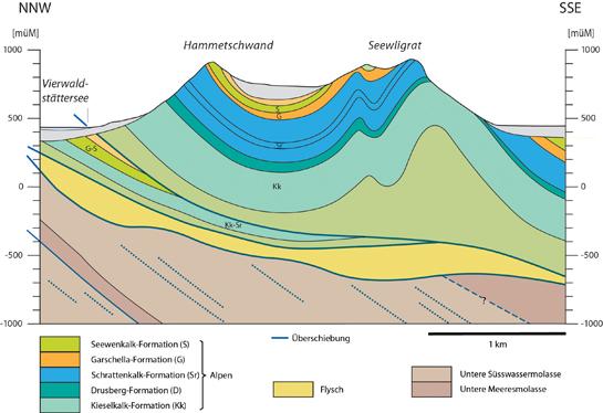 Abb. 10: Nord-Südprofil mit Überschiebung des Bürgenbergs (= Alpen, farbig) auf die Molasse (= Voralpen, braun)