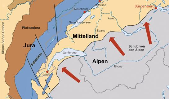 Abb. 4: Der Bürgenberg liegt am Nordrand der heutigen Alpen.