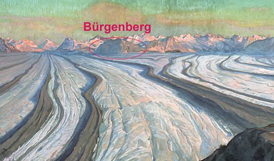 Abb. 1: Der Bürgenberg gegen Ende der letzten Eiszeit