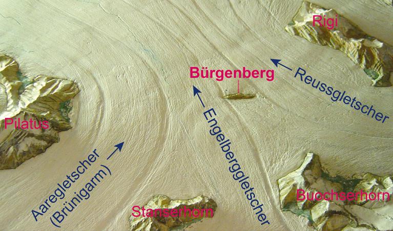 Abb.3 Eiszeitrelief des Bürgenbergs vor 20'000 Jahren