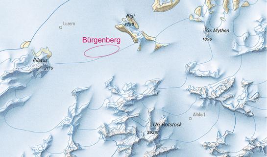 Abb. 5: Die Zentralschweiz (mit Pilatus, Luzern und Rigi) während der Maximalphase der letzten Eiszeit (ca. 24'000 Jahre vor heute)