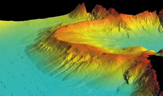 Abb. 1: Seetiefenmodell einer unter dem Wasserspiegel liegenden Moräne aus der Eiszeit