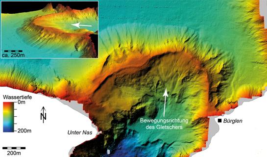 Abb. 7: Seetiefenmodell der Nase-Moräne aus der Vogelperspektive (grosses Bild) und in der Seitenansicht (kleines Bild)