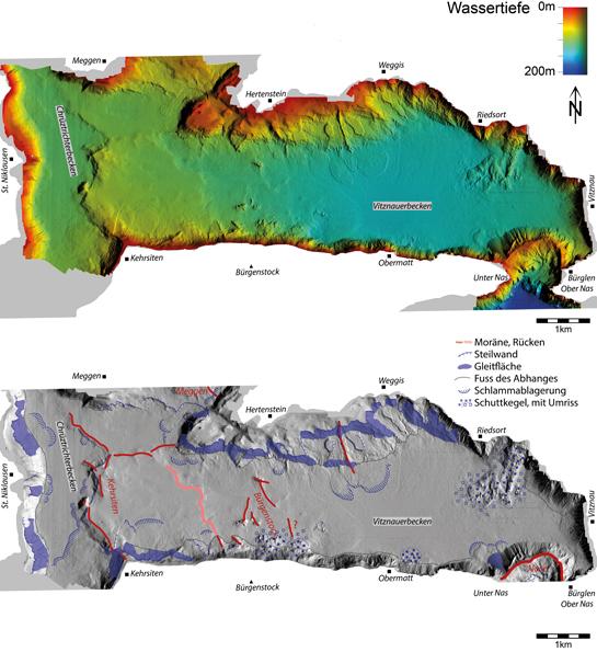 Abb. 8: Seetiefenmodell des Chrüztrichter- und Vitznauerbeckens (oben)und dessen Interpretation (unten)