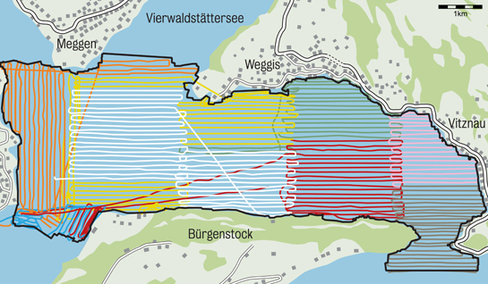 Abb. 9: Erstellung des Seetiefenmodells. Der Linienblock einer Farbe entspricht einem Messtag.