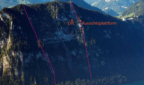 Abb. 1: Lage der Aussichtsplattform am Rand des Abrissgebietes mehrerer Bergstürze (rot markiert)