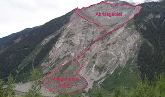 Abb. 3: Bergsturz von Morignone im Veltlin. Gut sichtbar sind Abriss- und Ablagerungsgebiet.