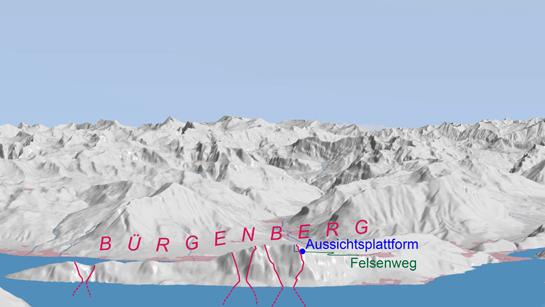Abb. 5: Ungefähre Begrenzungen der Abrissgebiete historischer Bergstürze in der Bürgenberg-Nordflanke (rote Linien)