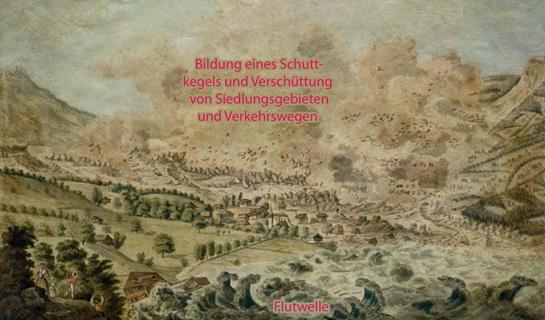 Abb. 6: Bild von David Alois Schmid des Bergsturzes von Goldau – mit direkten und indirekten Folgen
