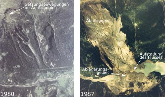 Abb. 7: Morignone im Veltlin. Links (1980): Setzungsbewegungen im Anrissgebiet vor dem Bergsturz. Rechts (1987): Abriss- und Ablagerungsgebiet sowie die Aufstauung des Flusses kurz nach dem Bergsturz