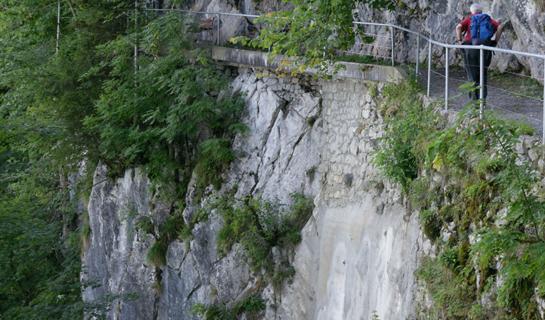 Abb. 7: Mit Spritzbeton stabilisierte Trockensteinmauer